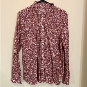 Ann Taylor Loft long sleeve Red and White Shirt